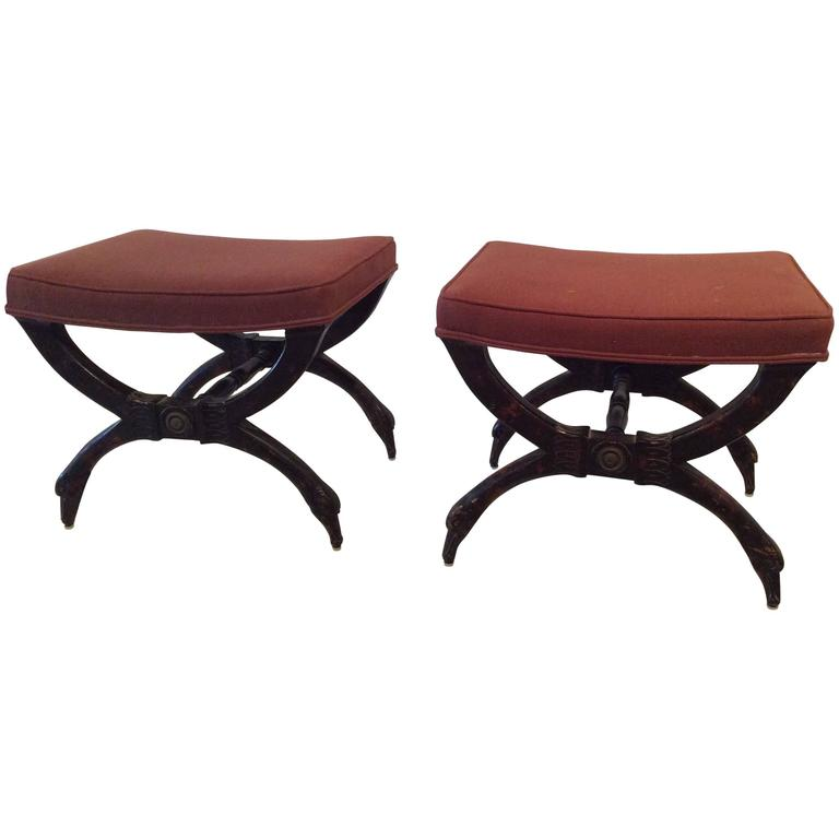 Wood Swan Pair of x Benches Stools Vintage Hollywood Regency Palm Beach