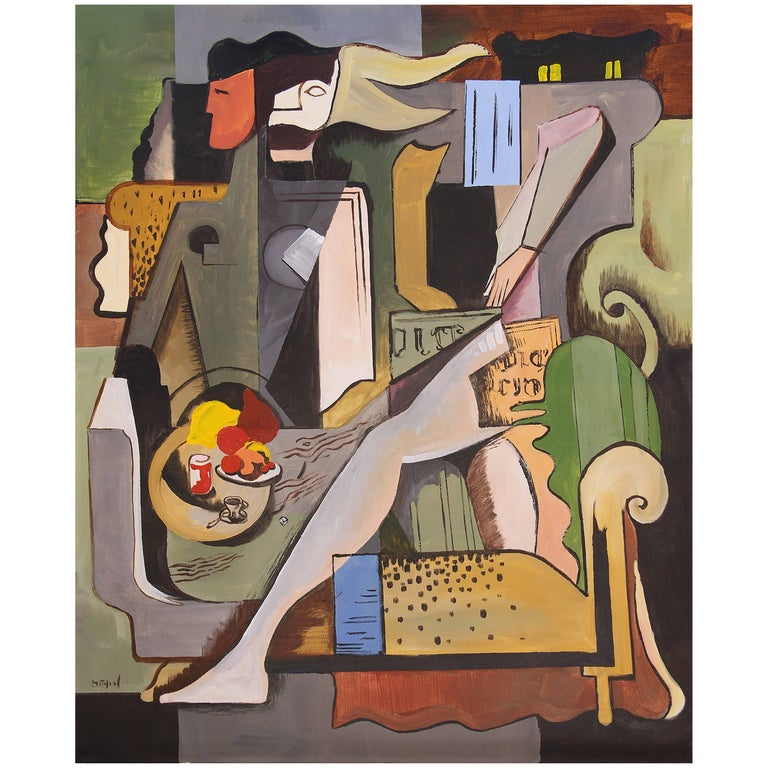Greg Mathias Cubist Lady in an Interior For Sale