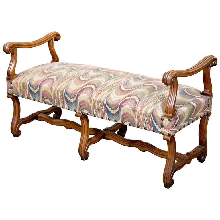 Mid-19th Century French Os de Mouton Backless Bench with Arms