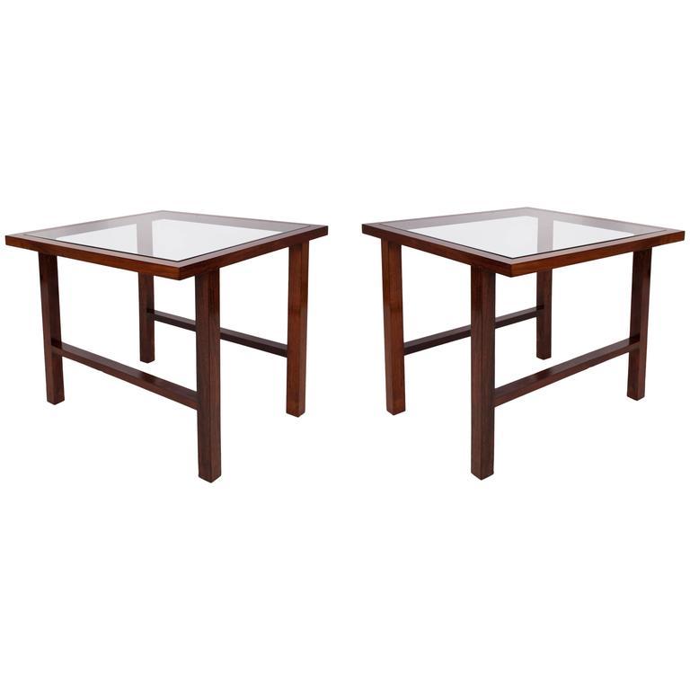 Pair of Branco & Preto Glass Top Side Tables in Caviuna