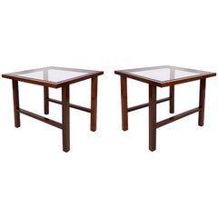 Pair of Branco & Preto Glass Top Side Tables in Caviuna
