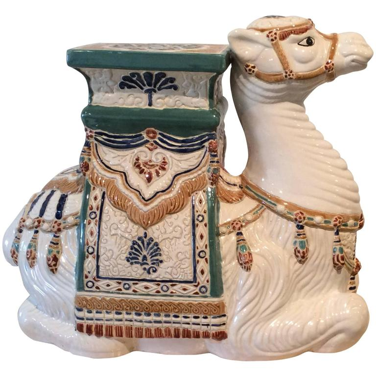 Vintage Camel Garden Stand Stool Ceramic Hollywood Regency ...