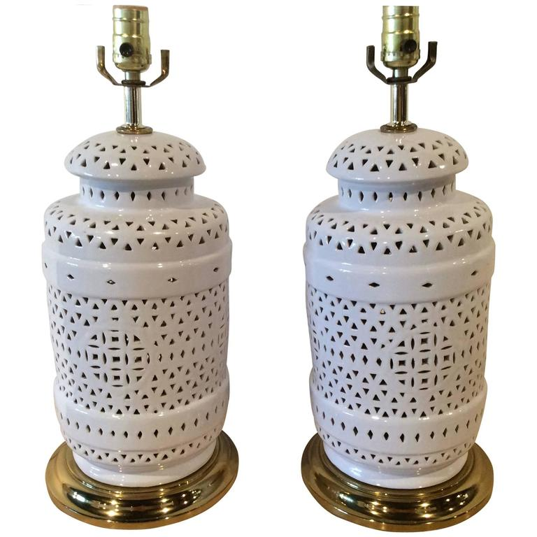 chine de blanc asian vintage ginger jar table lamps brass at 1stdibs. Black Bedroom Furniture Sets. Home Design Ideas
