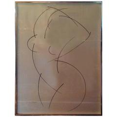 1960s Female Nude Felt Pen Sketch