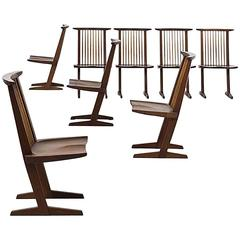 George Nakashima Set of Eight Conoid Dining Chairs, 1965