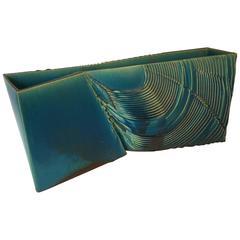 "Fine Large Japanese Blue Ceramic ""Swirling"" Planter One of a Kind Artist Signed"