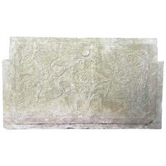 "China Carved Antique ""Double Phoenix"" Stone Panel for Indoors or Outdoors"