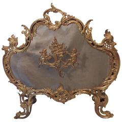 Wonderful French Doré Bronze Fire Place Screen Cherubs Filigree Firescreen