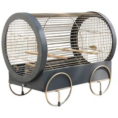 Vintage Fun and Funky 1950s Brass and Tole Bird Cage
