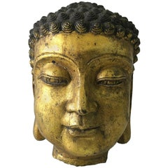 Exceptionally Detailed Oversized Gilt Bronze Buddha Head Sculpture