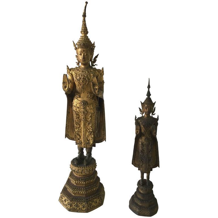 Antique Gilt Bronze Buddha Sculptures from Laos/Thailand For Sale