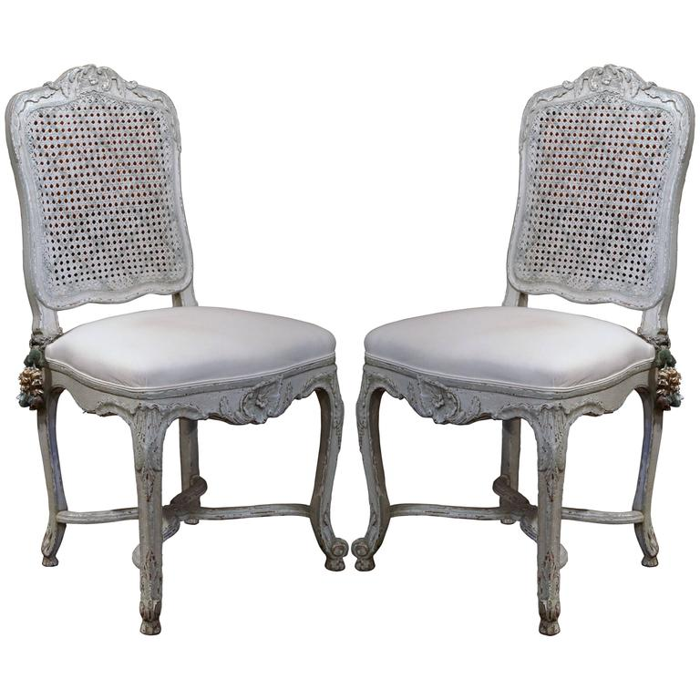 Pair Of 19th Century French Louis Xv Gray Painted Side Chairs With Cane Back At 1stdibs