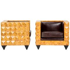 Stunning Pair of Unusual Burr Walnut Geometric Pyramid Armchairs.
