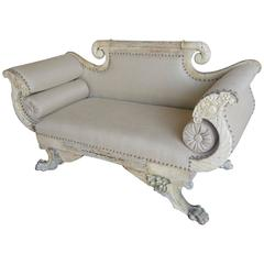 19th Century Italian Painted Carved Settee with Bolsters