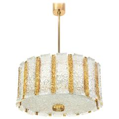 Kalmar Chandelier in Drum Form, Gilt Brass and Glass, Austria, 1960s