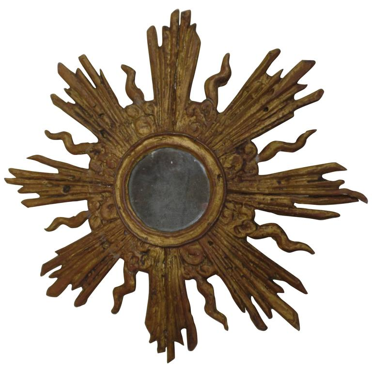 French Louis XIV Style Gilt Lead Sunburst Mirror