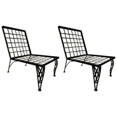 Pair of French Mid-Century Modern Grid Back Lounge Chairs Attr. to Rene Gabriel