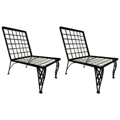 Pair of French Grid Back Lounge Chairs Attributed to Rene Gabriel
