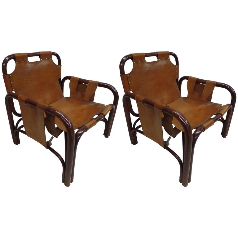 Pair Italian Mid-Century Modern Bamboo & Leather Lounge Chairs by Bonacina,