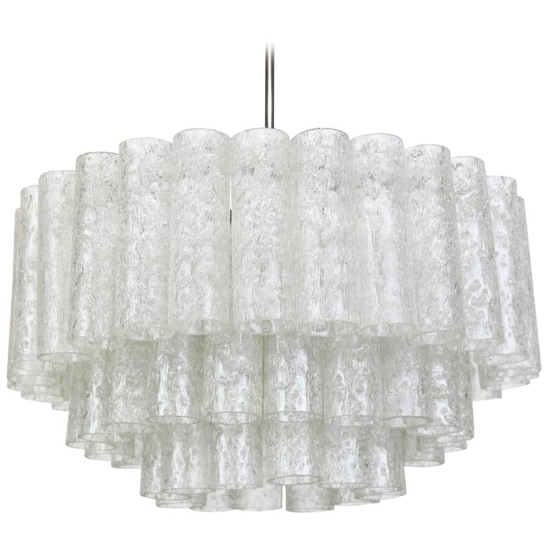 Doria Ice Glass Tubes Chandelier, Germany, 1960s For Sale