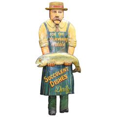 Hand-Carved Painted Fishmonger Sign Display