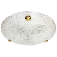 1 (of 2) Big Round Murano Ice Glass Flush Mount by Hillebrand, Germany, 1970s