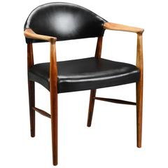 Rosewood and Black Leather Armchair/Desk Chair by Kurt Olsen