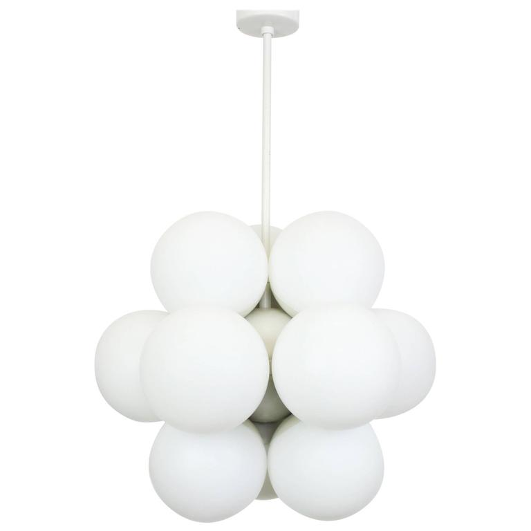 Kaiser Sputnik Molecular Shape Chandelier, 12 Opal Glass, Germany, 1970s For Sale