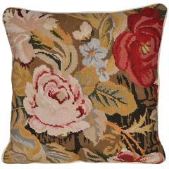 Antique Irish Hand-Stitched Needlepoint Cushion Pillow