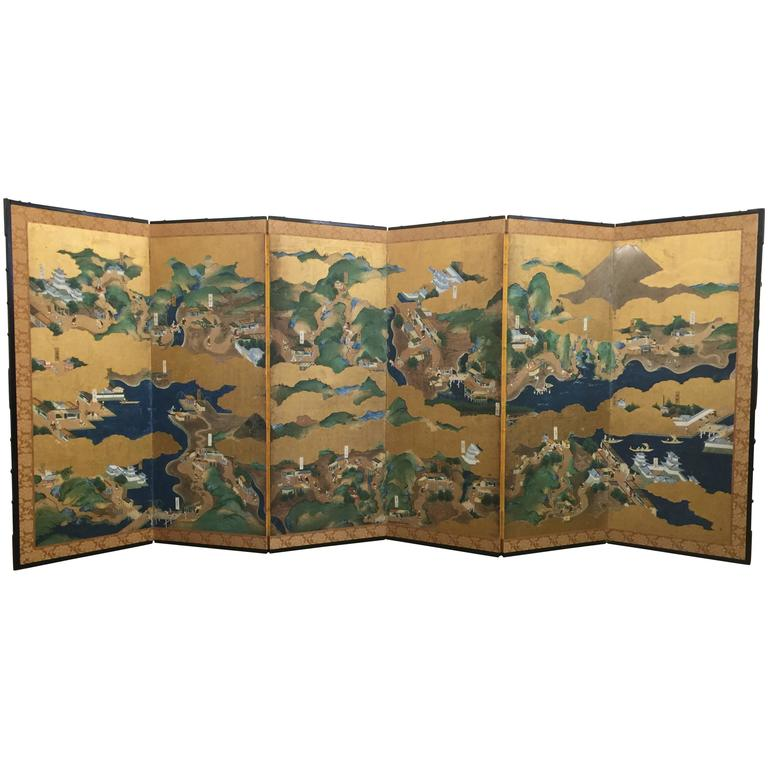 "18th Century Six-Fold Japanese Screen ""Tokaido"""