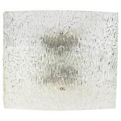 Large Kalmar Ice Glass Wall Sconce, Austria, 1960s
