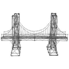 Vintage Folk Art Wire Suspension Bridge Model Sculpture
