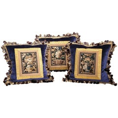 Set of Three Handmade Pillows with Aubusson Tapestry and Antique Trims