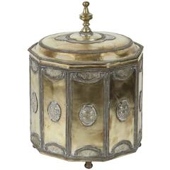 Large Brass Moroccan Cookie Jar with Silver Filigree Designs