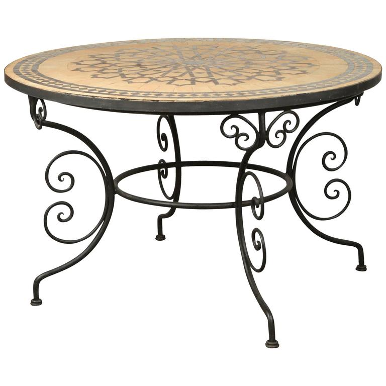 Moroccan Round Mosaic Outdoor Tile Table On Iron Base 47