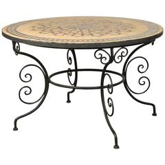 Large Round Moroccan Mosaic Tile Table on Iron Base