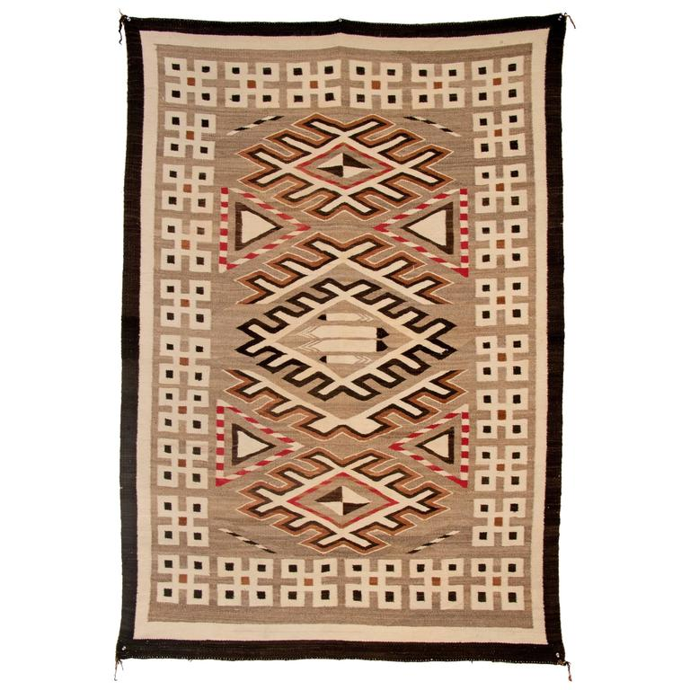 Vintage Navajo Pictorial Trading Post Rug, Early 20th Century