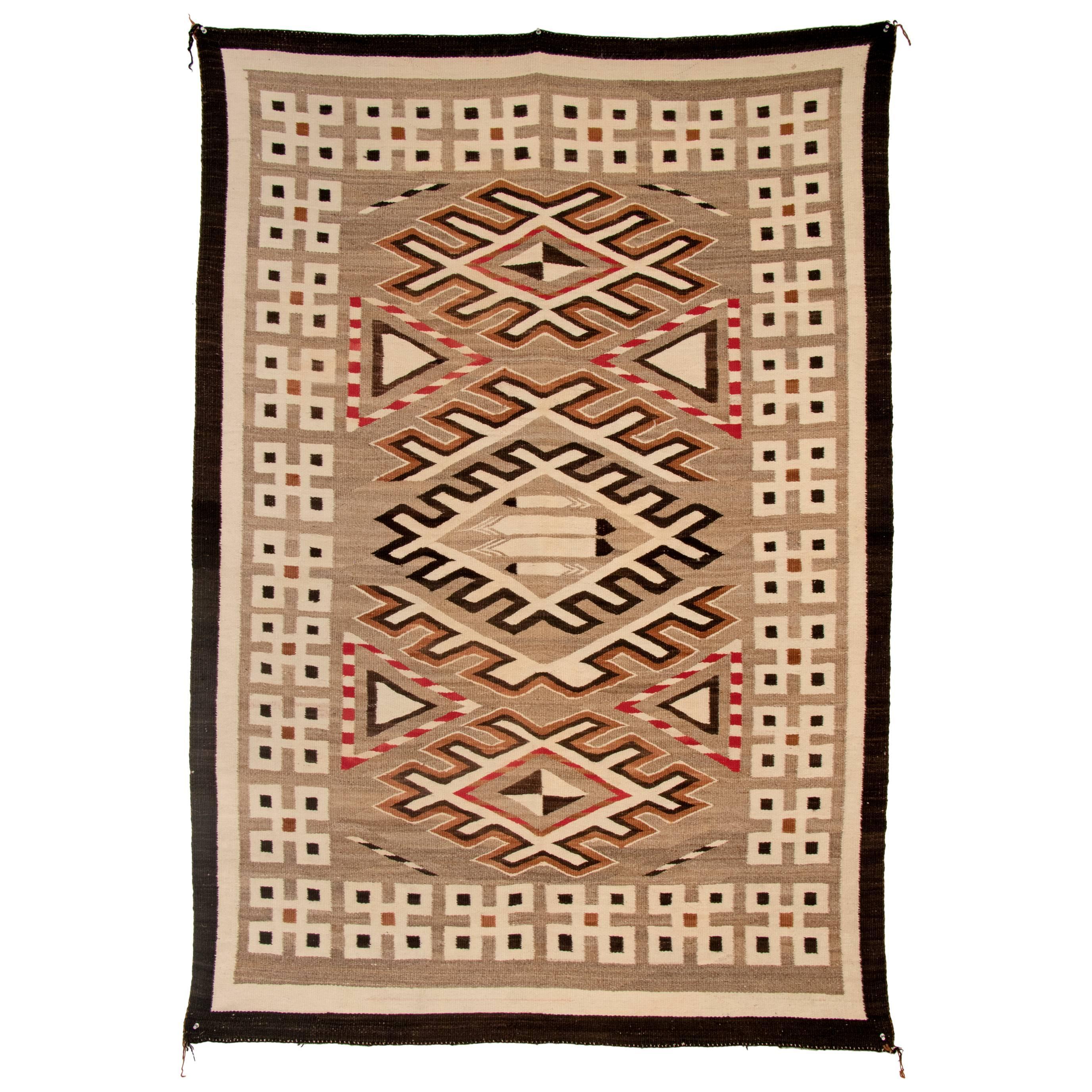 Vintage Navajo Pictorial Rug, Hand-Woven Wool, Gray, Brown, Ivory, Black & Red
