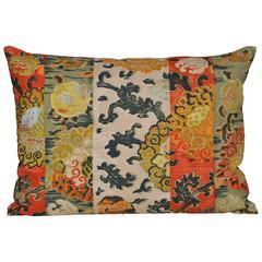 Vintage Italian Cushion Backed in New Irish Linen Pillow