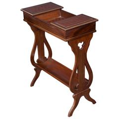 19th Century Walnut Lyre Table