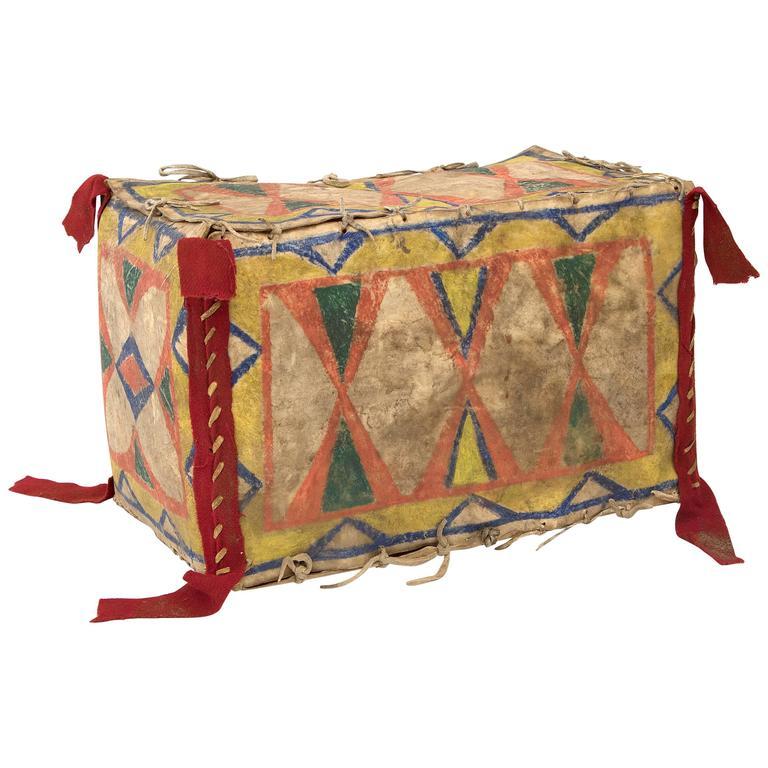 Native American Parfleche Box, Sioux, 19th Century