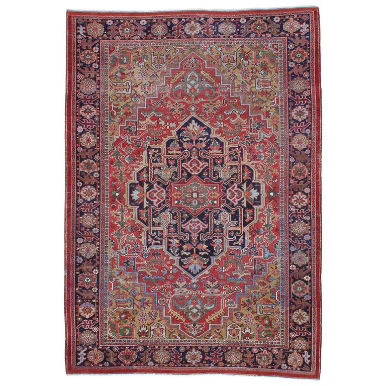 Antique Heriz Carpet with Gentle Wear For Sale