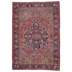 Antique Heriz Carpet with Gentle Wear