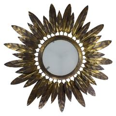 Gilt Metal Sunburst Flush Mount Sunburst Ceiling Fixture with Feather Design