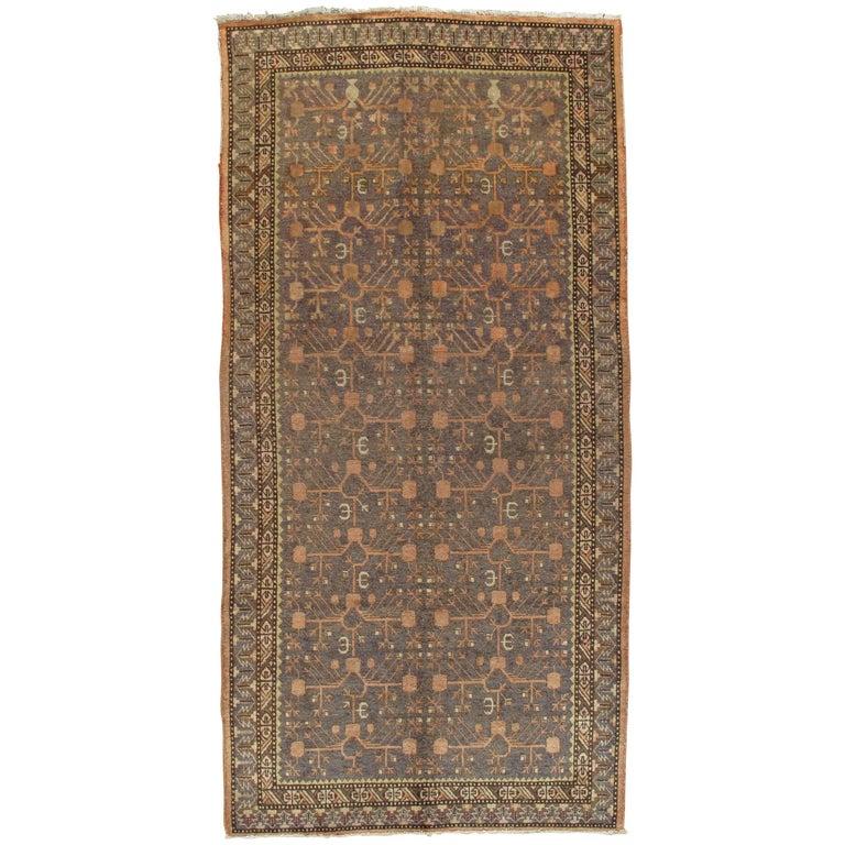 Vintage Khotan Rug, Handmade Oriental Rug, Soft shrimp, Beige, Brown, Char Gray For Sale