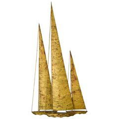 Metal Wall Hanging Sailboat Sculpture by J. Gaylord Ortman