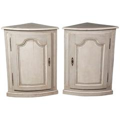 Pair of Painted 19th Century Corner Cabinets