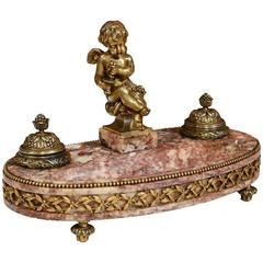 19th Century French Louis XVI Bronze and Marble Inkwell with Putti