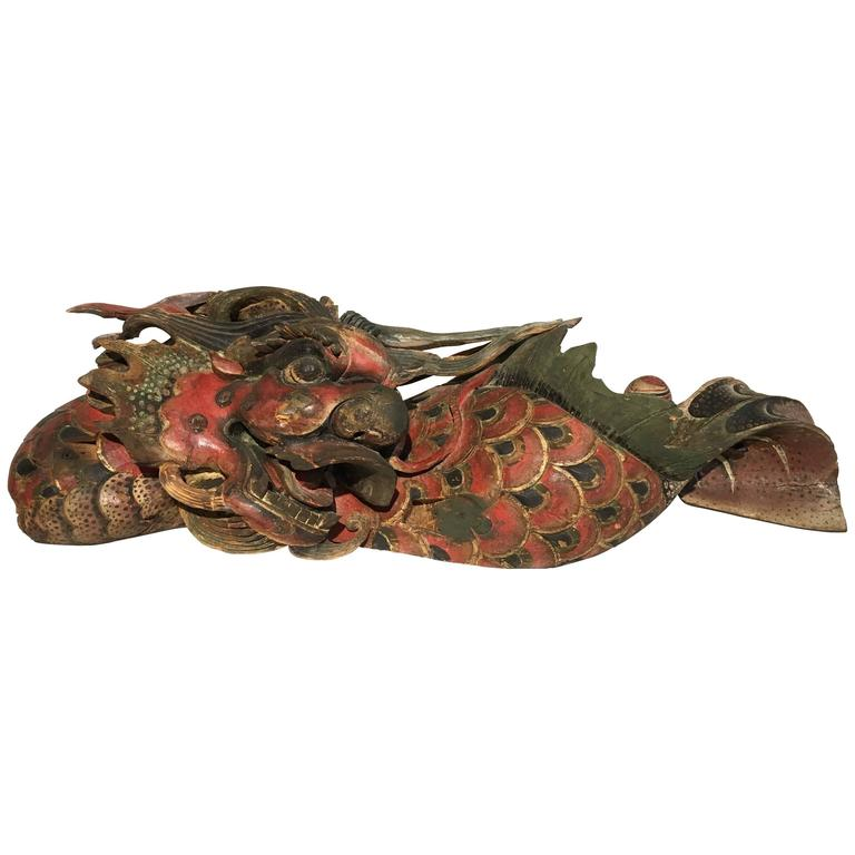Chinese Folk Carved and Painted Wooden Dragon