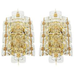 Large Pair of Golden Gilded Brass and Crystal Sconces by Palwa, Germany, 1960s